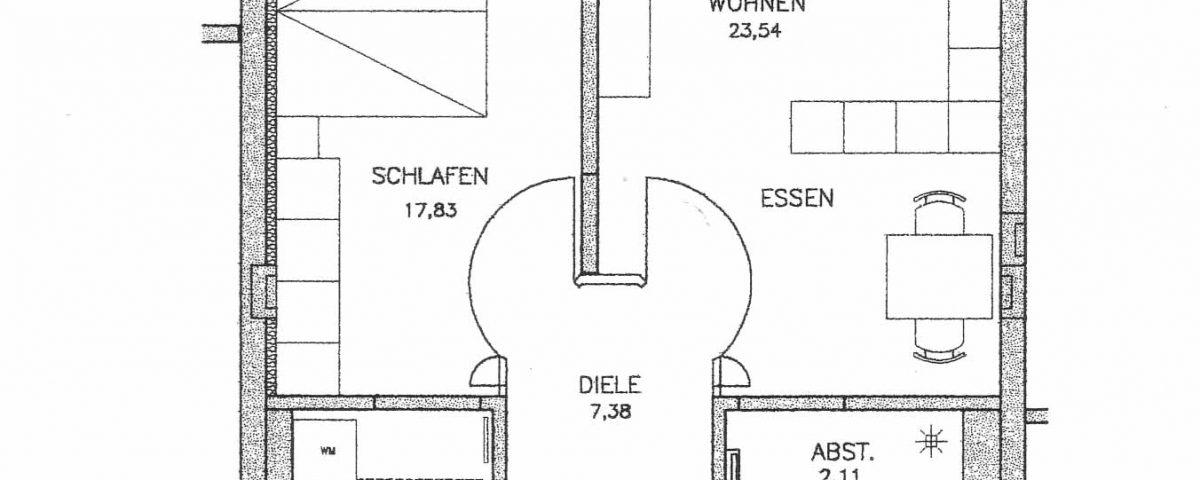 Grundriss der Wohnung 11 im Haus Münsterblick in Freiburg.
