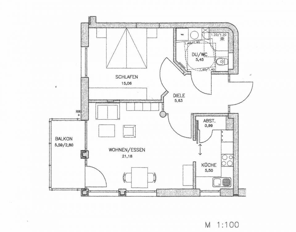 Grundriss der Wohnung 45 im Haus Münsterblick in Freiburg.