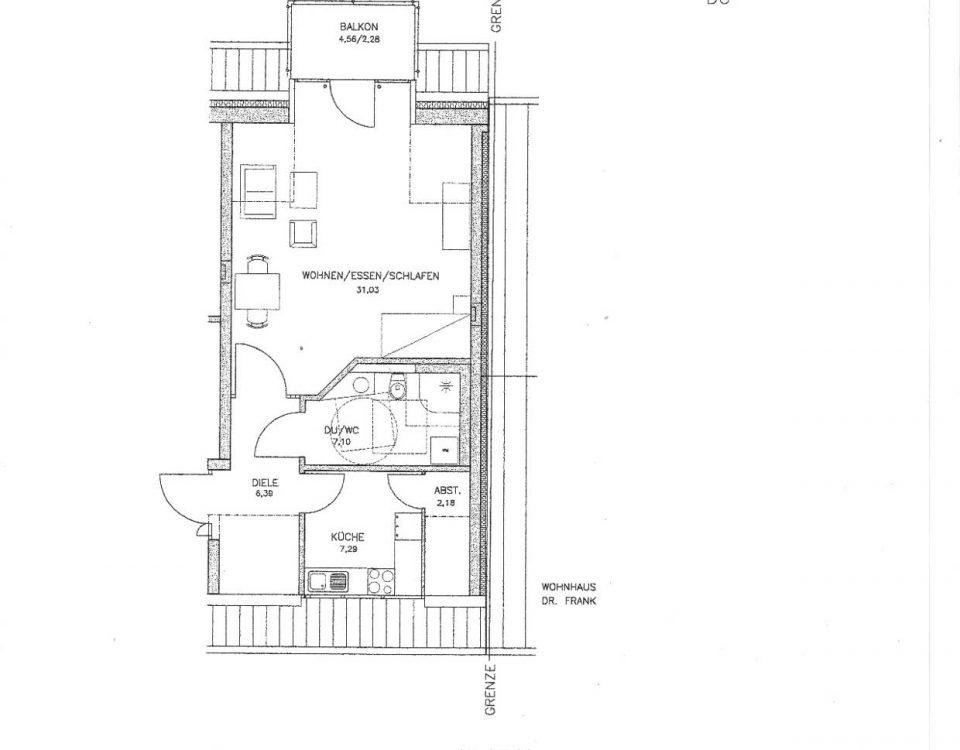 Grundriss der Wohnung 44 im Haus Münsterblick in Freiburg.