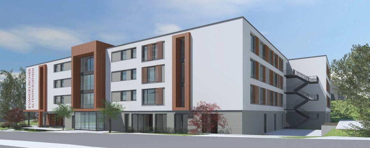 """Der Neubau im Seniorenzentrum """"Im Brückle"""": Die Westansicht des neuen Evangelischen Altenpflegeheims Bretten."""