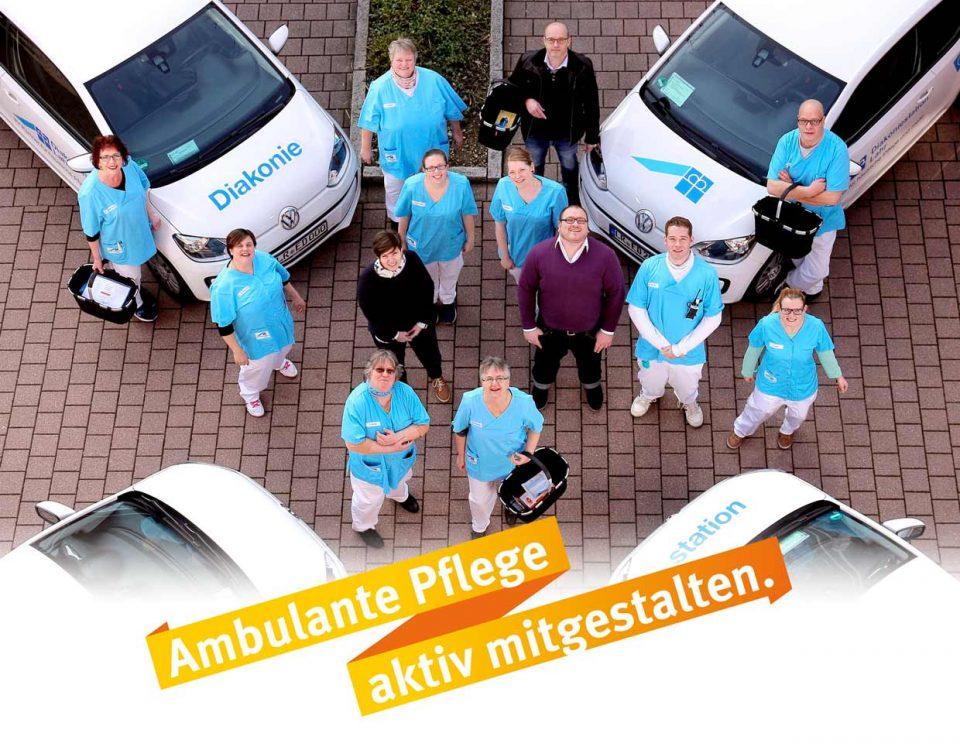 """""""Ambulante Pflege aktiv mitgestalten"""" - Teamfoto der Diakoniestation Lahr - 2017"""