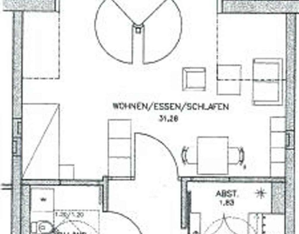 Grundriss der Wohnung 43 im Haus Münsterblick in Freiburg.