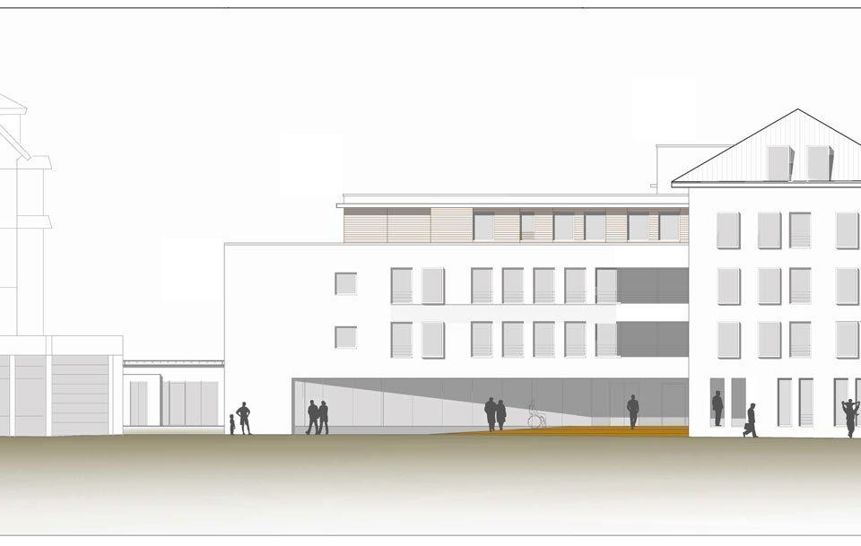Der geplante Erweiterungsbau des Haus Schlossberg in Freiburg: Zu sehen ist das bereits bestehende Haus Schloßberg, der geplante Erweiterungsbau und das Carl-Mez-Haus (v.l.n.r.)